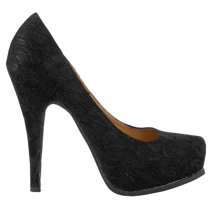 Bleeding Heart Lace Platform High Heels (Black)