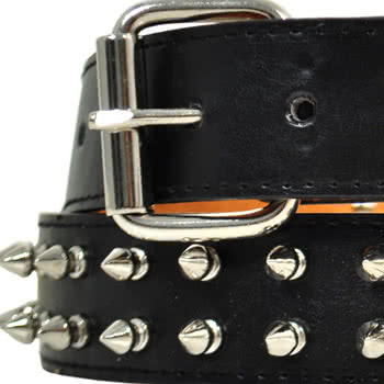 Blue Banana 2 Row Spikes Studded Belt (Black)
