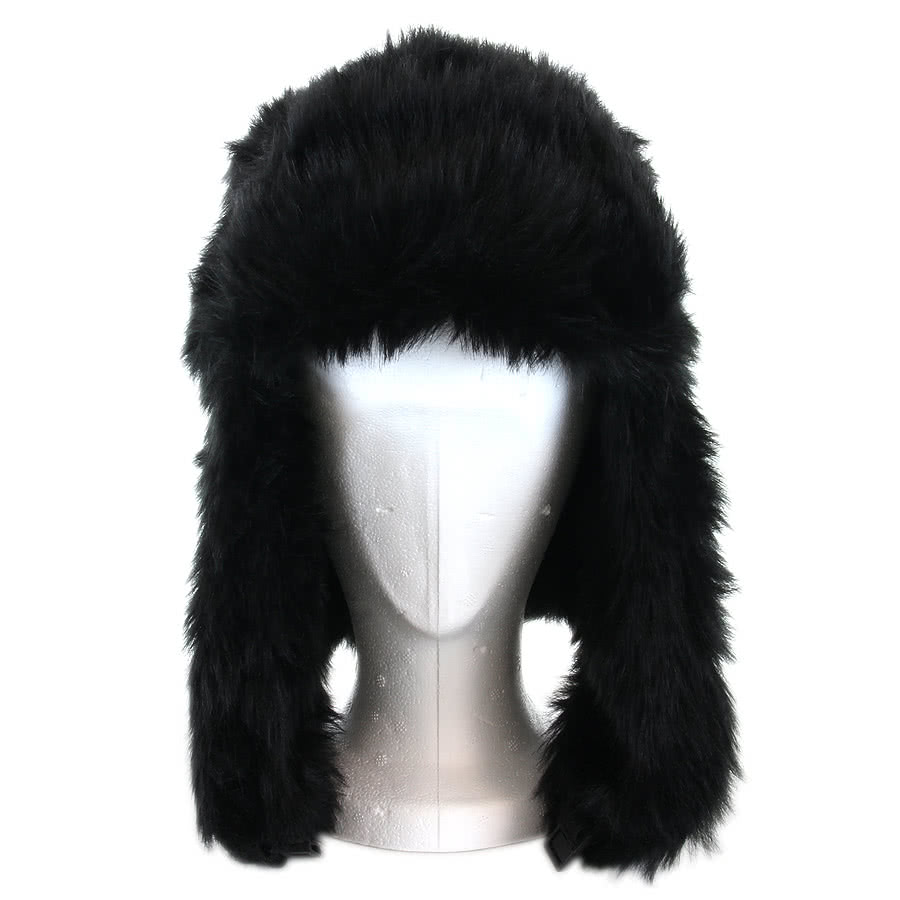 Blue Banana Fur Pompom Hat (Black)