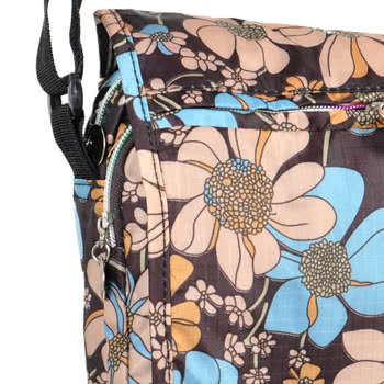 Blue Banana Large Flowers Festival Shoulder Bag (Brown/Blue)
