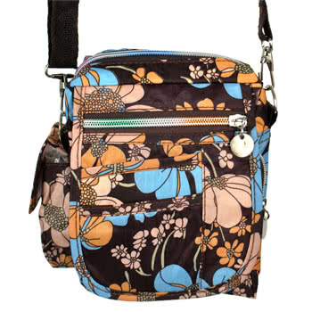Blue Banana Small Flowers Festival Shoulder Bag (Brown/Blue)