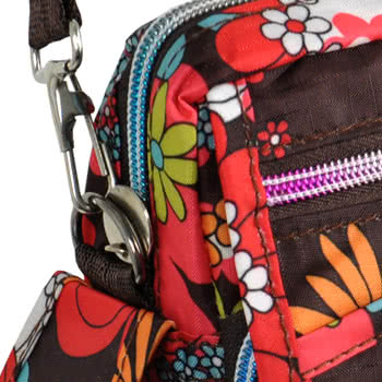 Blue Banana Small Flowers Festival Shoulder Bag (Brown/Red)