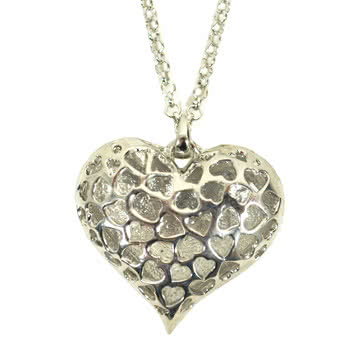 Blue Banana Heart Crystal Necklace (Silver)