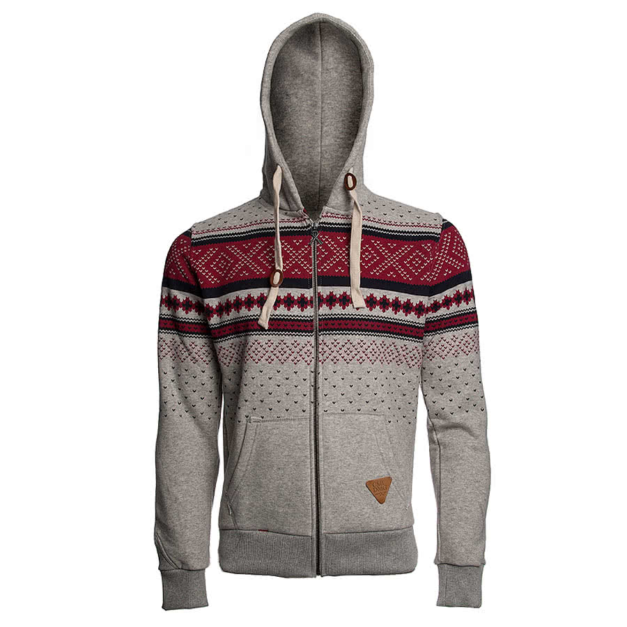 Criminal Damage Brick Hoodie (Grey/Burgundy)