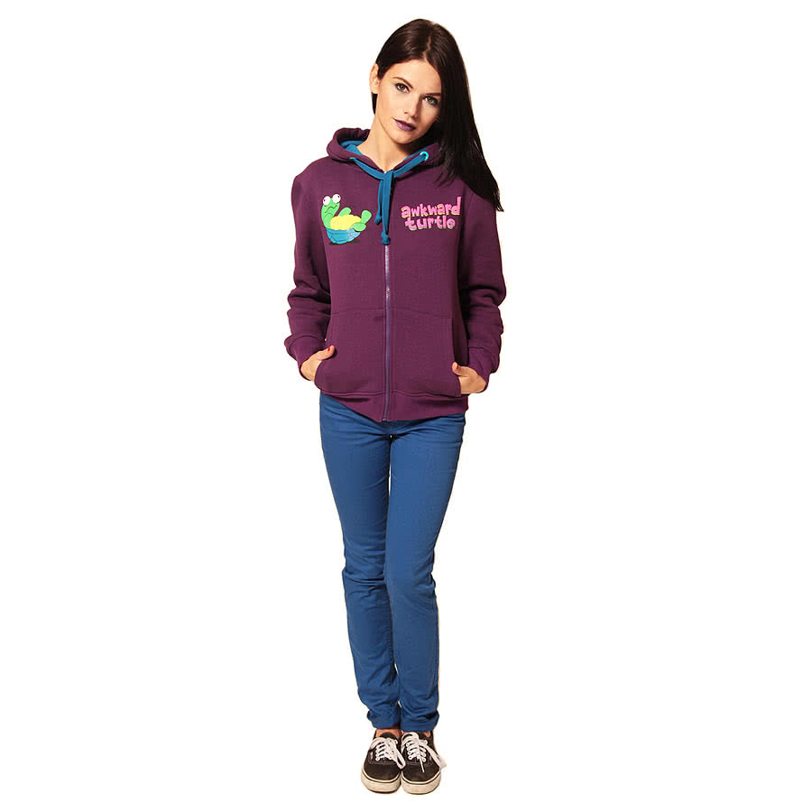 Flip Flop And Fangs Awkward Turtle Hoodie (Purple)