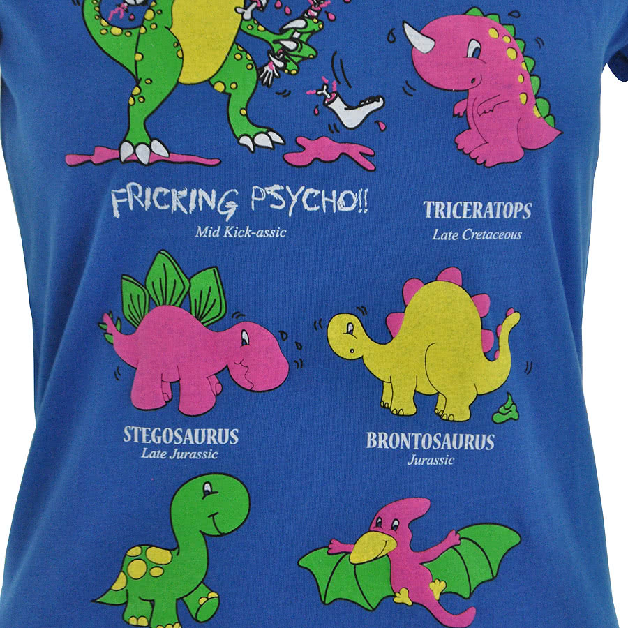 Flip Flop And Fangs Dinosaurs Skinny Fit T Shirt (Blue)