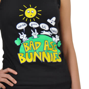 Flip Flop And Fangs Bad Bunnies Long Set Pyjamas (Black)