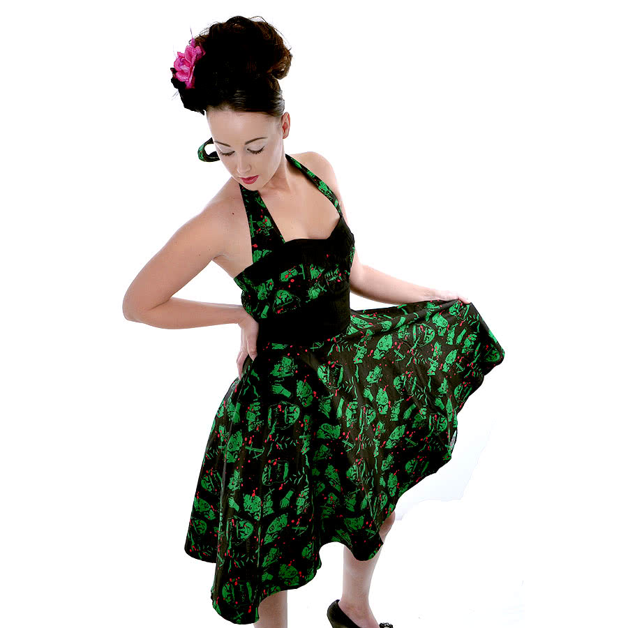 Hell Bunny Freddy Dress (Black/Green)