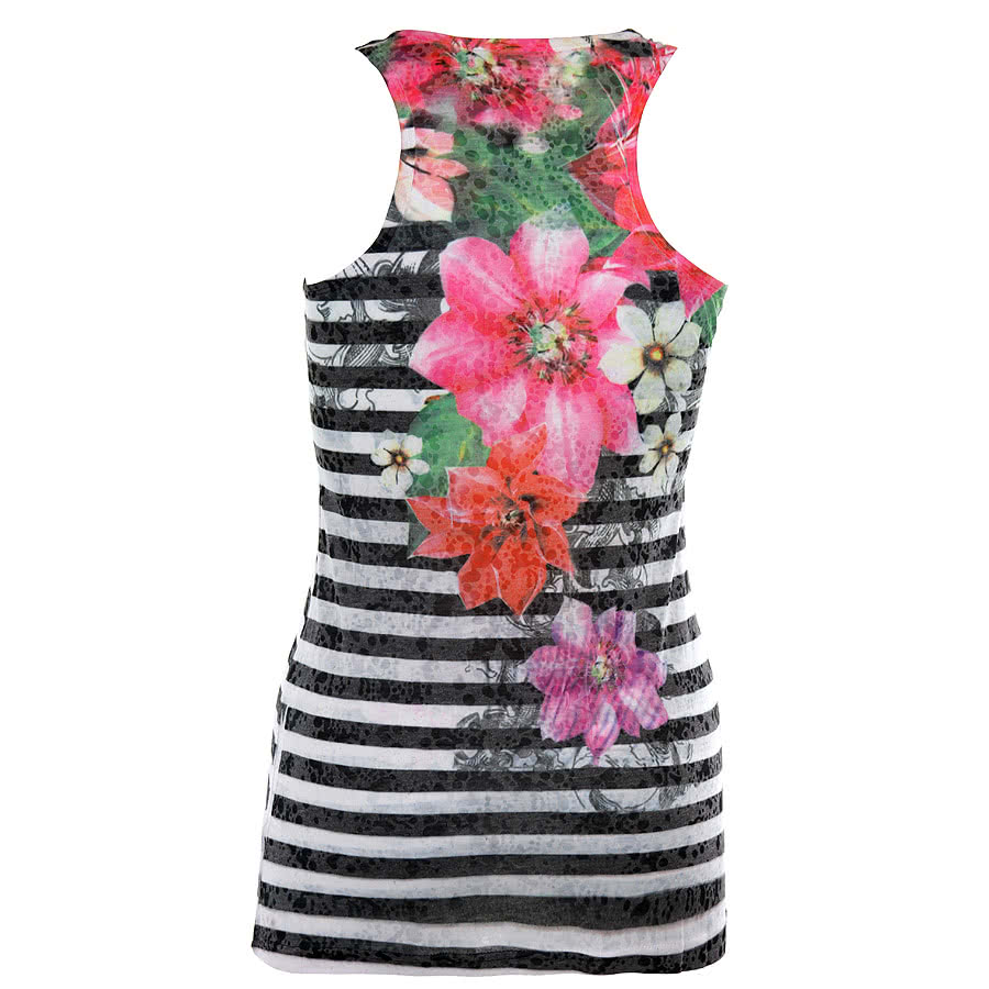 Innocent Stripe Flower Vest Top (Black/White)