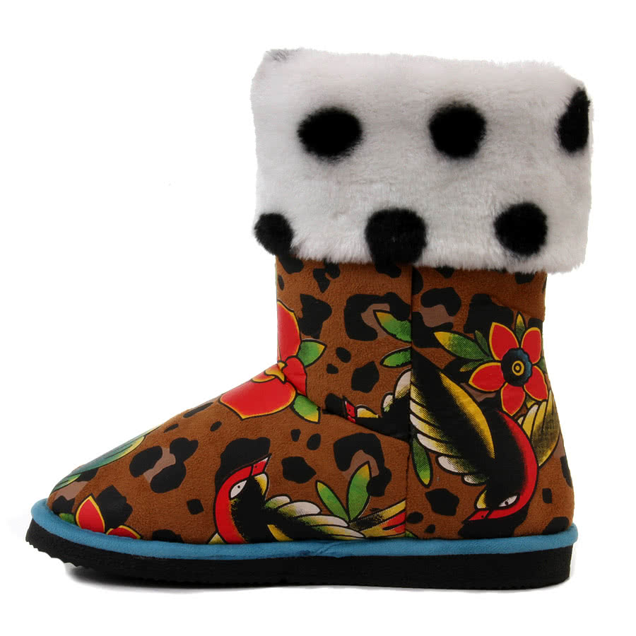 Iron Fist Lounge Leopard Boots (Brown/White)