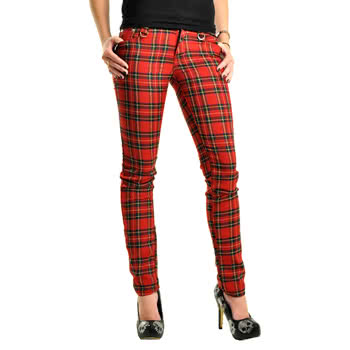 Jawbreaker Red Plaid Jeans (Red)