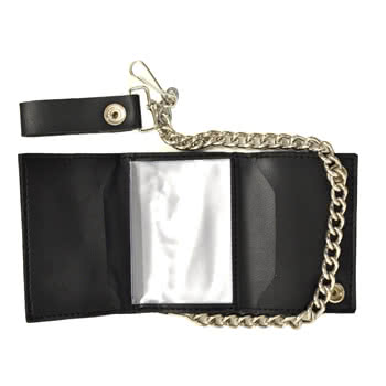 Lucky 13 Skull Stars Leather Chain Wallet (Black)
