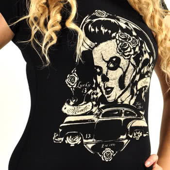Lucky 13 Rosa Girlfriend T Shirt (Black)