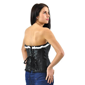 Midnight Peep Show Ruffled Corset Top (Black)