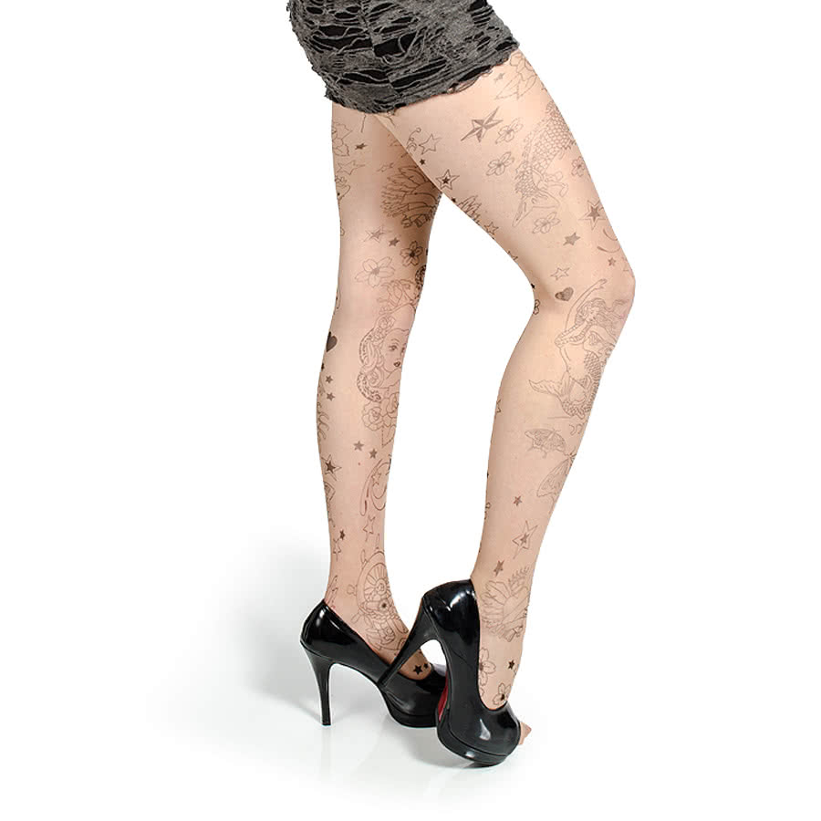 Pamela Mann Tattoo Hearts Tights (Nude)
