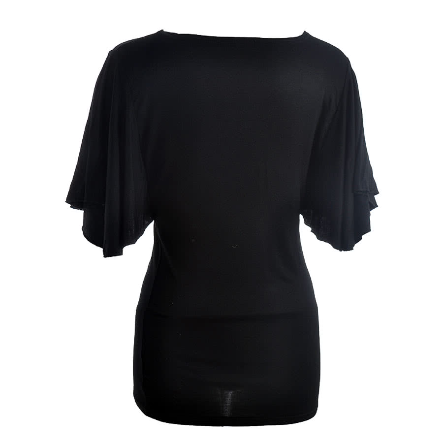 Spiral Direct Rose Fairy Latin Boatneck Top (Black)