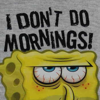 SpongeBob SquarePants I Don't Do Mornings T Shirt (Grey)