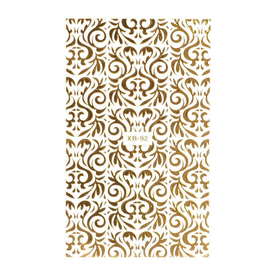 Nail Art Sheets XB-92 Bold Filigree (Gold)