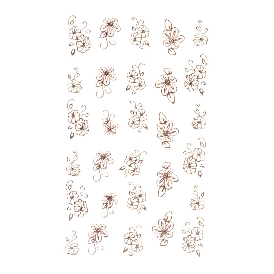 Nail Art Sheets XB-74 Large Flower (Gold)