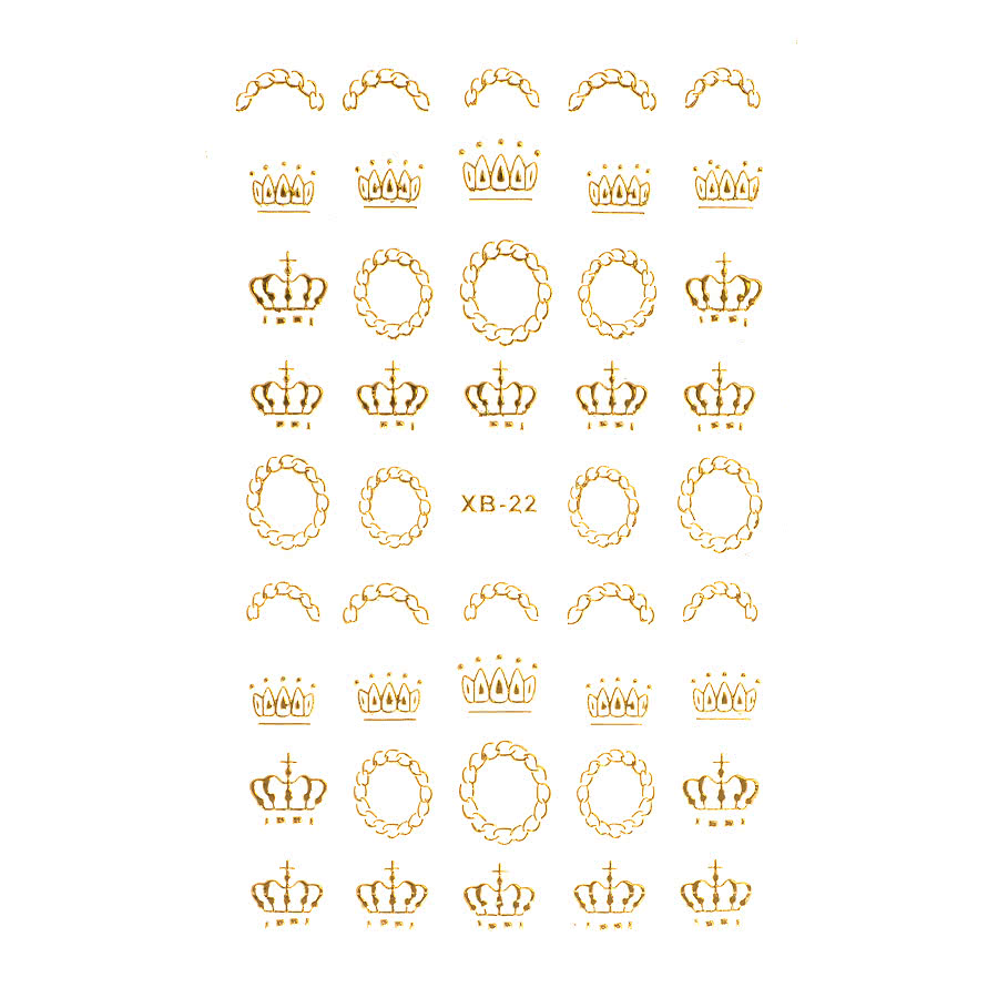 Nail Art Sheets XB-22 Crown/Royal (Gold)
