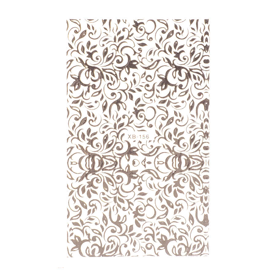 Nail Art Sheets XB-156 Fine Filigree (Silver)