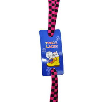 Thick Laces Design Checkered Laces (Hot Pink)