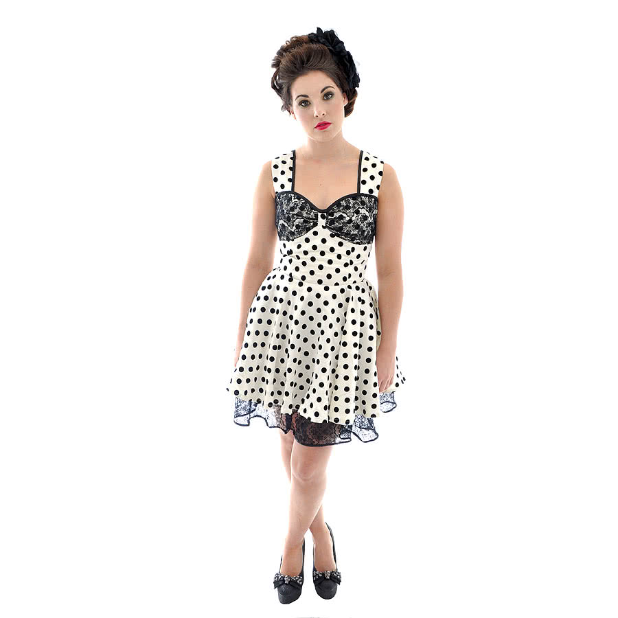Voodoo Vixen Cross Polka Dot Dress (Black/White)