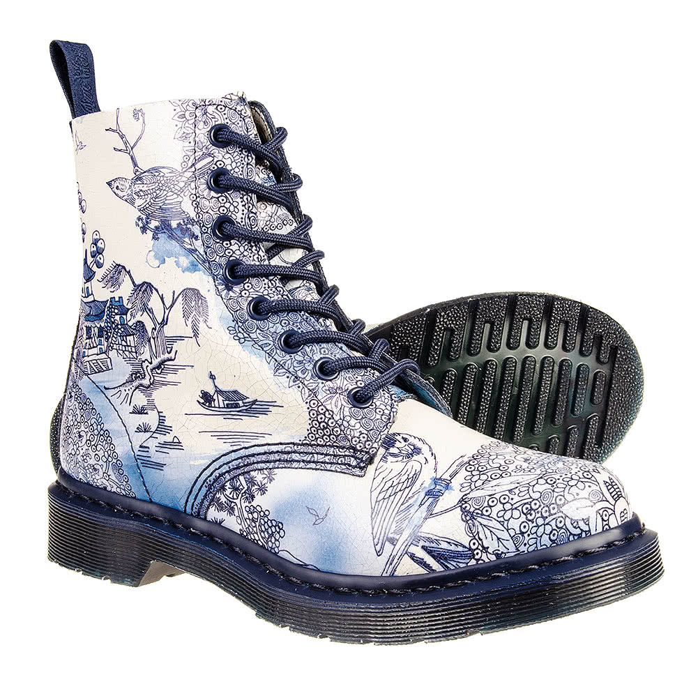 dr martens pascal willow pattern boots blue white ebay. Black Bedroom Furniture Sets. Home Design Ideas