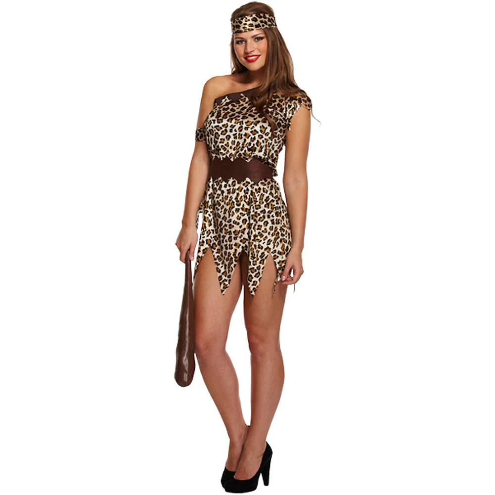 Cave Woman Fancy Dress Costume (Brown)