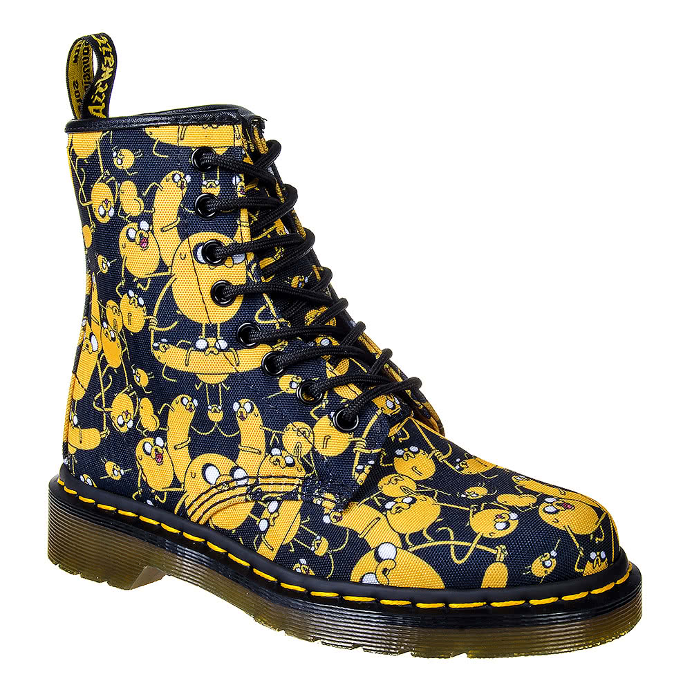 Dr Martens 1460 Adventure Time Jake Print Canvas Boots (BlackYellow)