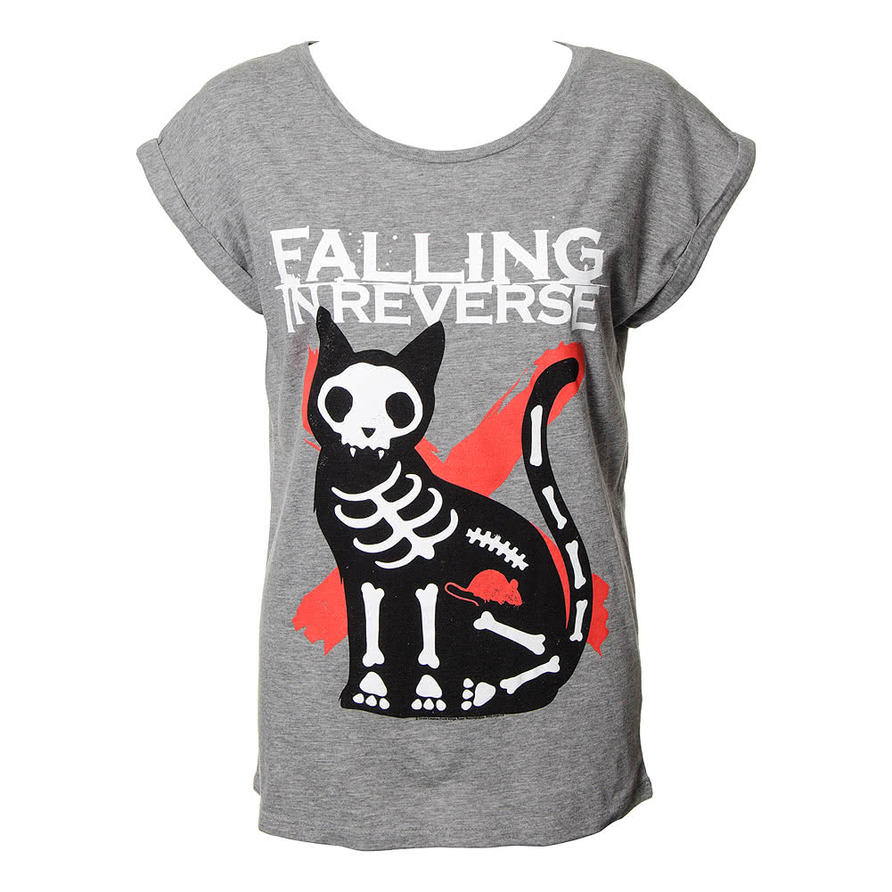 Falling In Reverse Cat & Mouse Skinny T Shirt (Grey)
