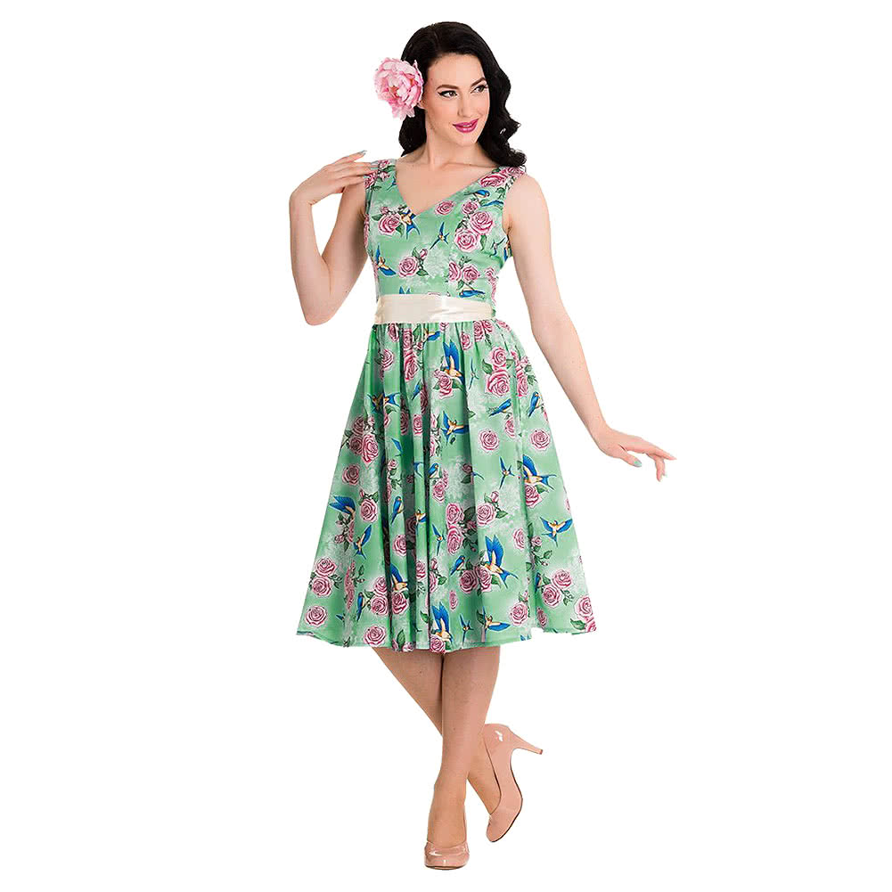 Hell Bunny Lacey 50s Dress (Green)