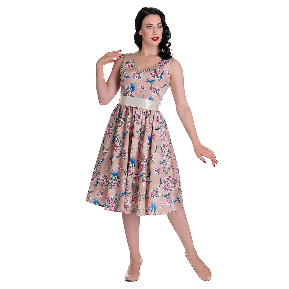 Hell Bunny Lacey 50s Dress (Beige)