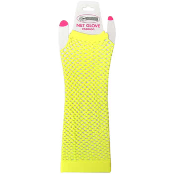 Pair of Panja Long Fishnet Gloves (Yellow)