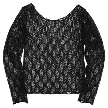 Insanity Lace Flower Pattern Long Sleeve Top (Black)