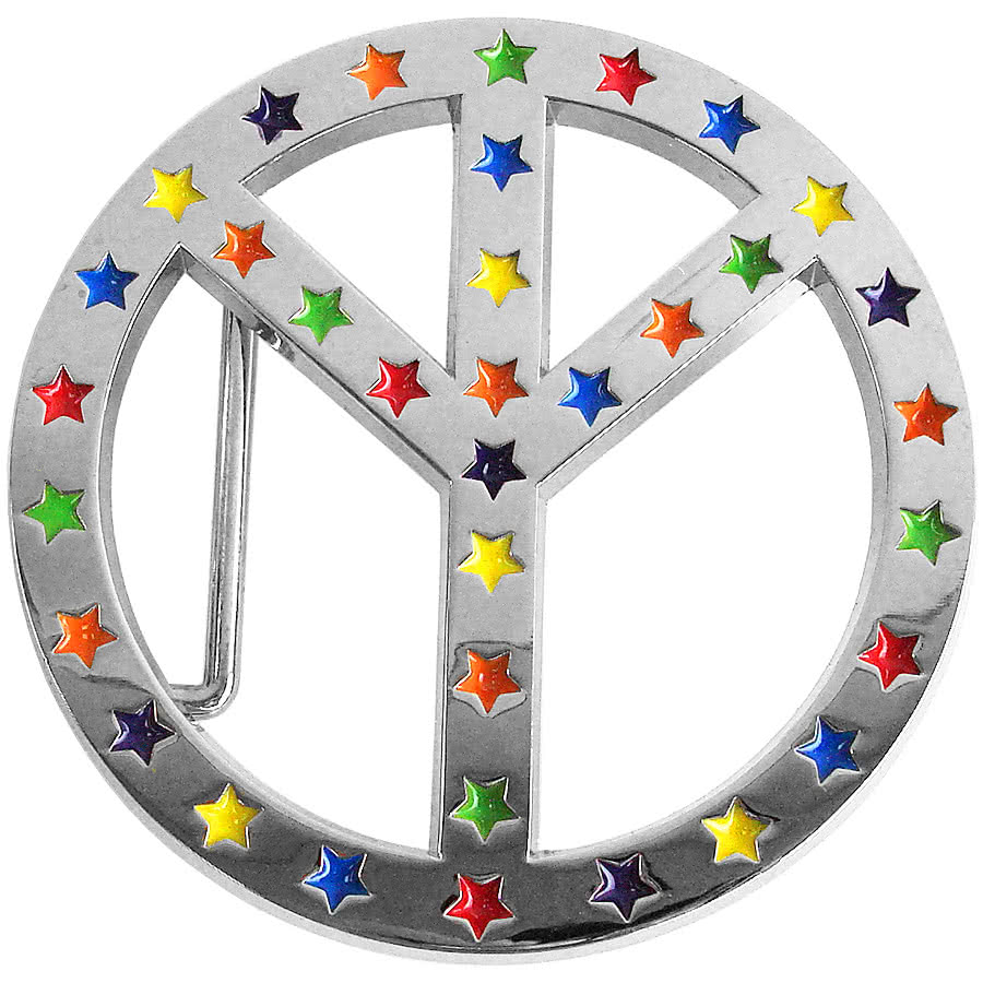 Peace Symbol with Stars Belt Buckle (Silver)