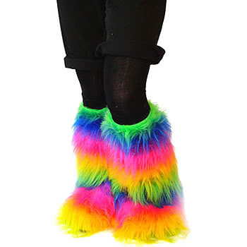 Insanity Fluffy Leg Warmers (Multi-Coloured)