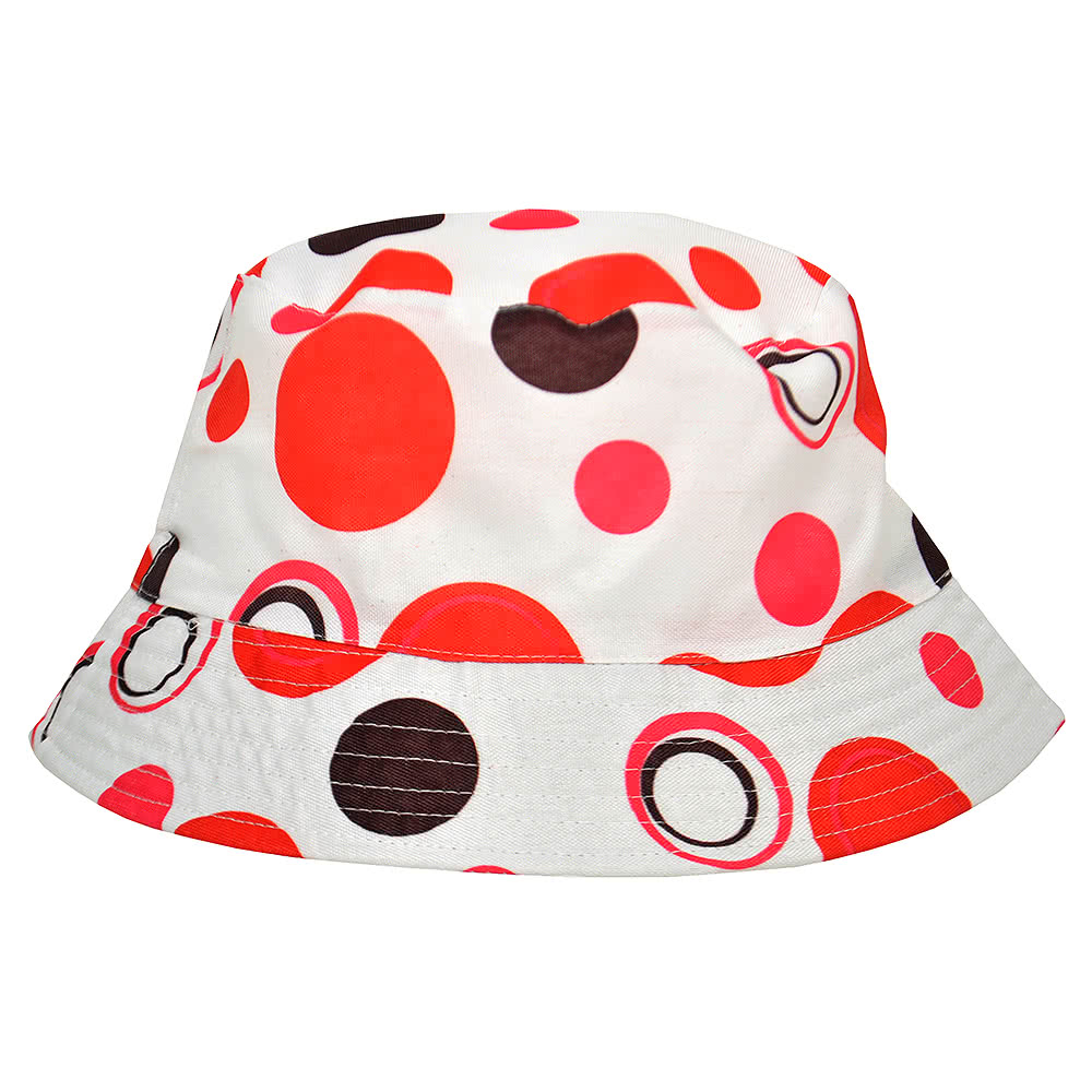Blue Banana Circles Festival Hat (White/Red)