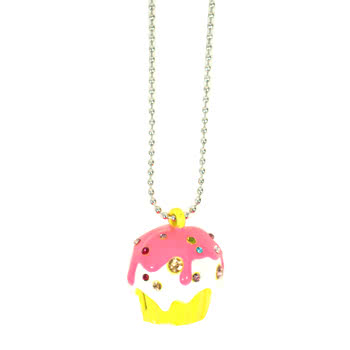 Blue Banana Cupcake Necklace (Pink)
