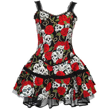 Dress Shoppe on Skull And Rose Print Dress  Black Red    Uk Supplier   Cheap E Deals