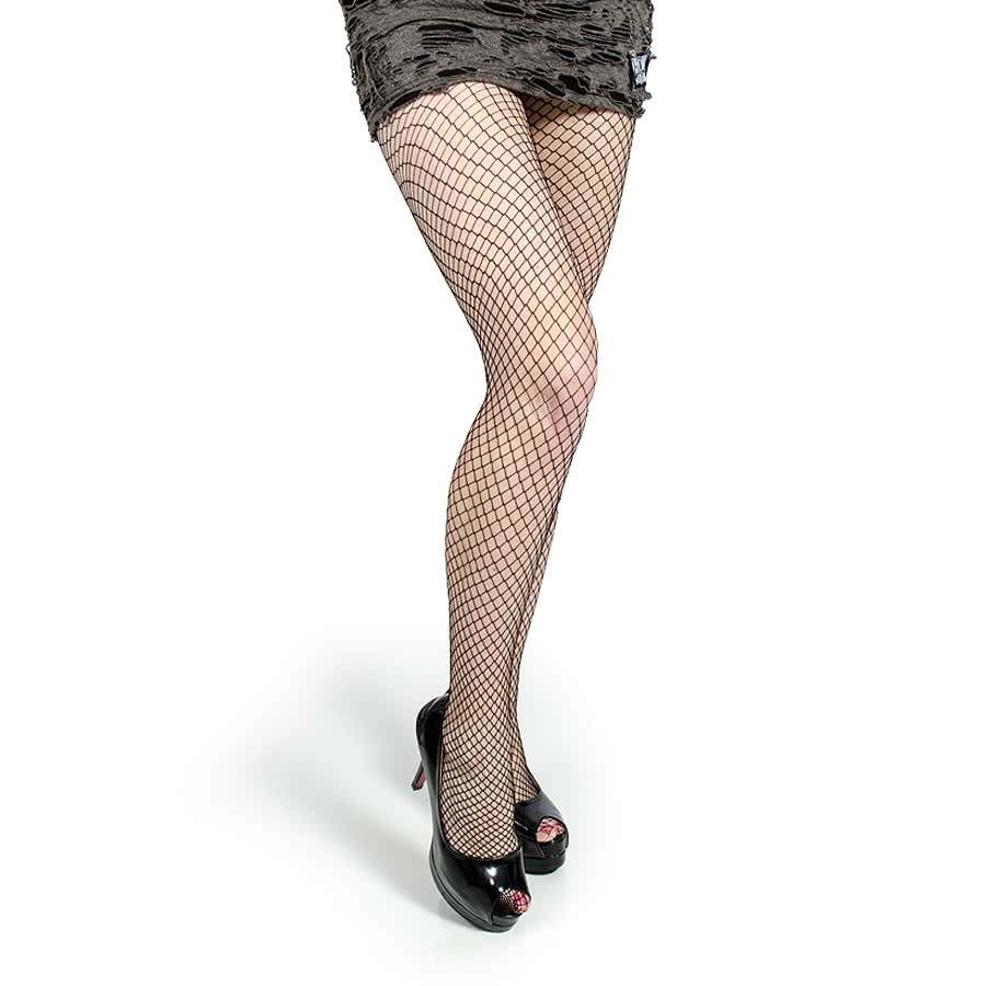 Blue Banana Small Fishnet Pattern Tights (Black)
