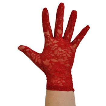Pair of Lacy Short Gloves (Red)