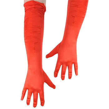 Blue Banana Long Silk Gloves (Red)