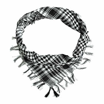 Blue Banana Woven Scarf (Black/White)