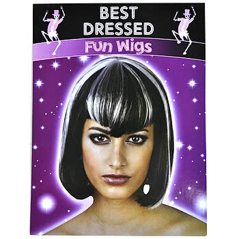 Halloween Two Toned Fancy Dress Wig (Black/White)