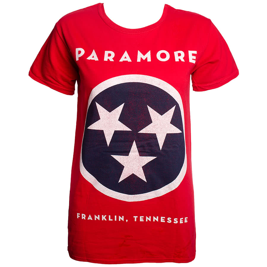 Paramore Flag Skinny Fit T Shirt (Red)