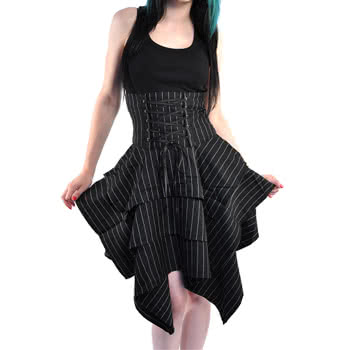 Blue Banana  Spin Doctor by Hell Bunny Mary Pinstripe Skirt (Black)