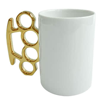 Mug With Knuckle Duster Handle (White/Gold)