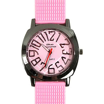 Blue Banana Round Face Watch (Light Pink)