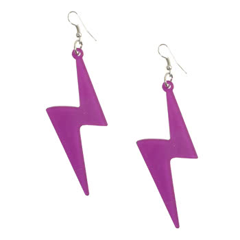 Blue Banana Purple Lightning Bolt Design Earrings